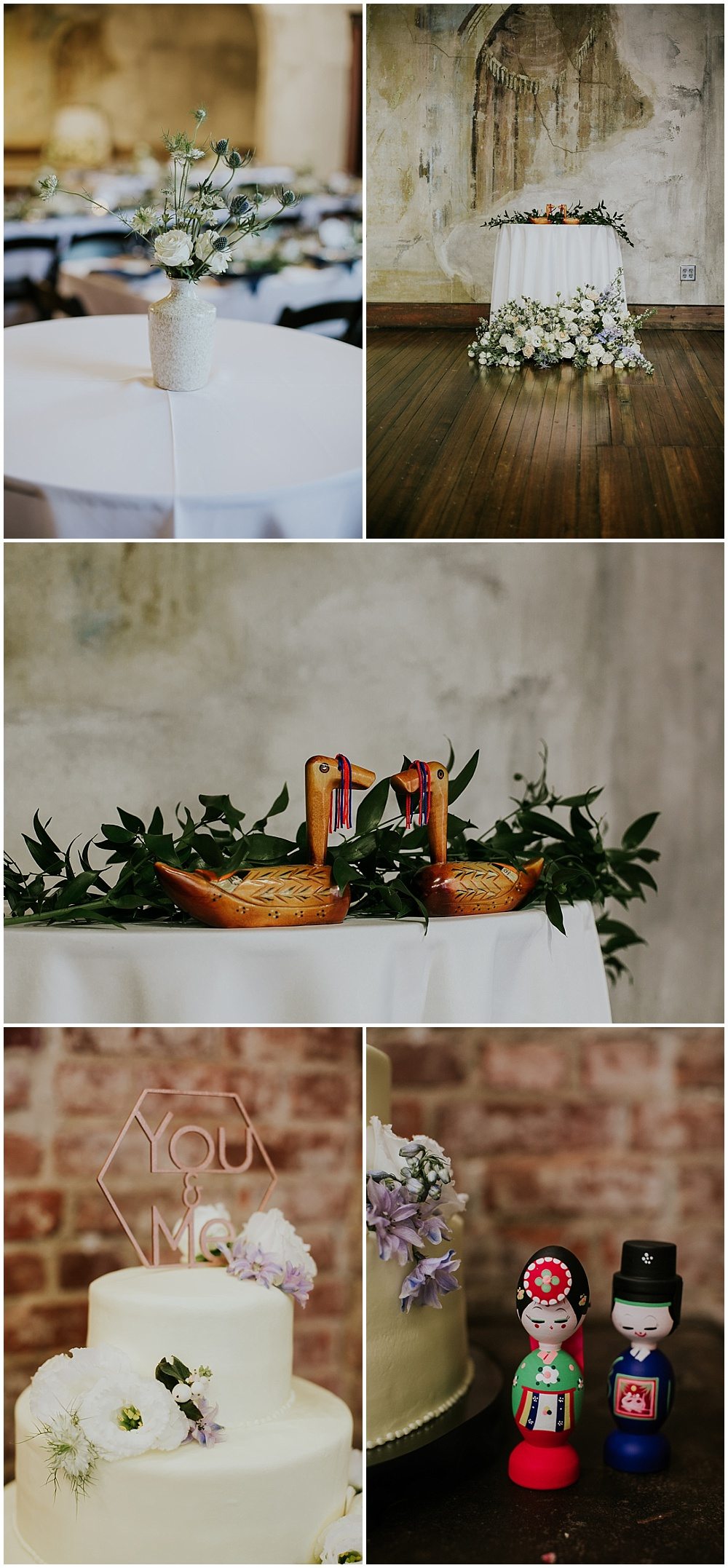 White, green and blue wedding details with Korean heritage elements | Korean-American intimate multicultural wedding in Neidhammer coffee shop