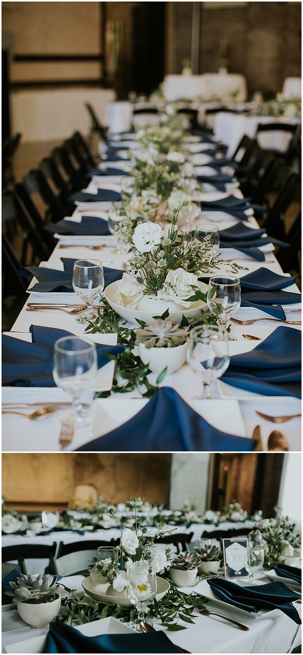 Beautiful wedding tablescape with navy napkins on white linens with assortments of succulents and white roses | Korean-American intimate multicultural wedding in Neidhammer coffee shop