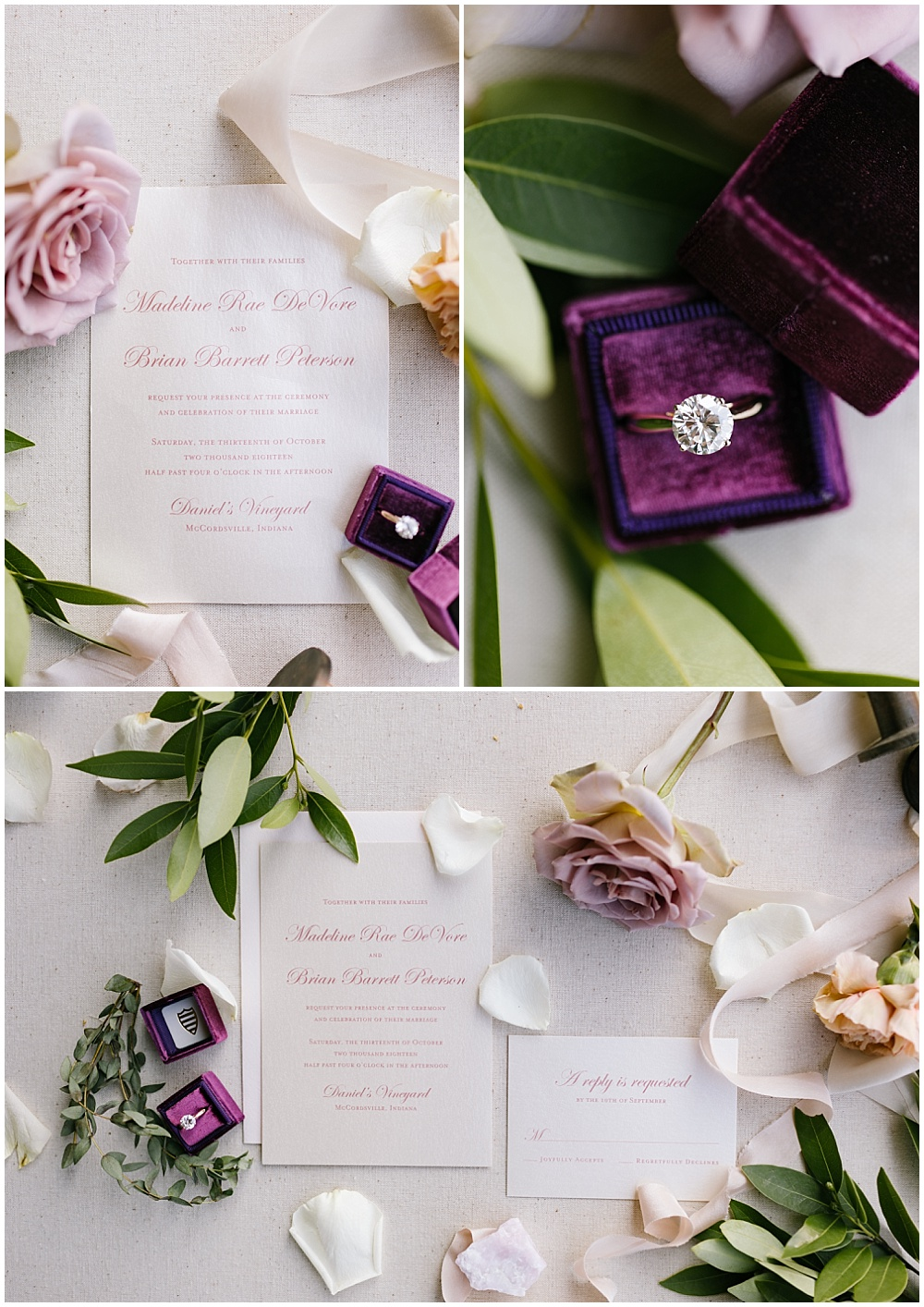 Rose quartz inspired wedding color palette, wedding invitations and paperie from Paper Source and a custom purple velvet ring box | Daniel's Vineyard wedding with Ivan & Louise + Jessica Dum Wedding Coordination