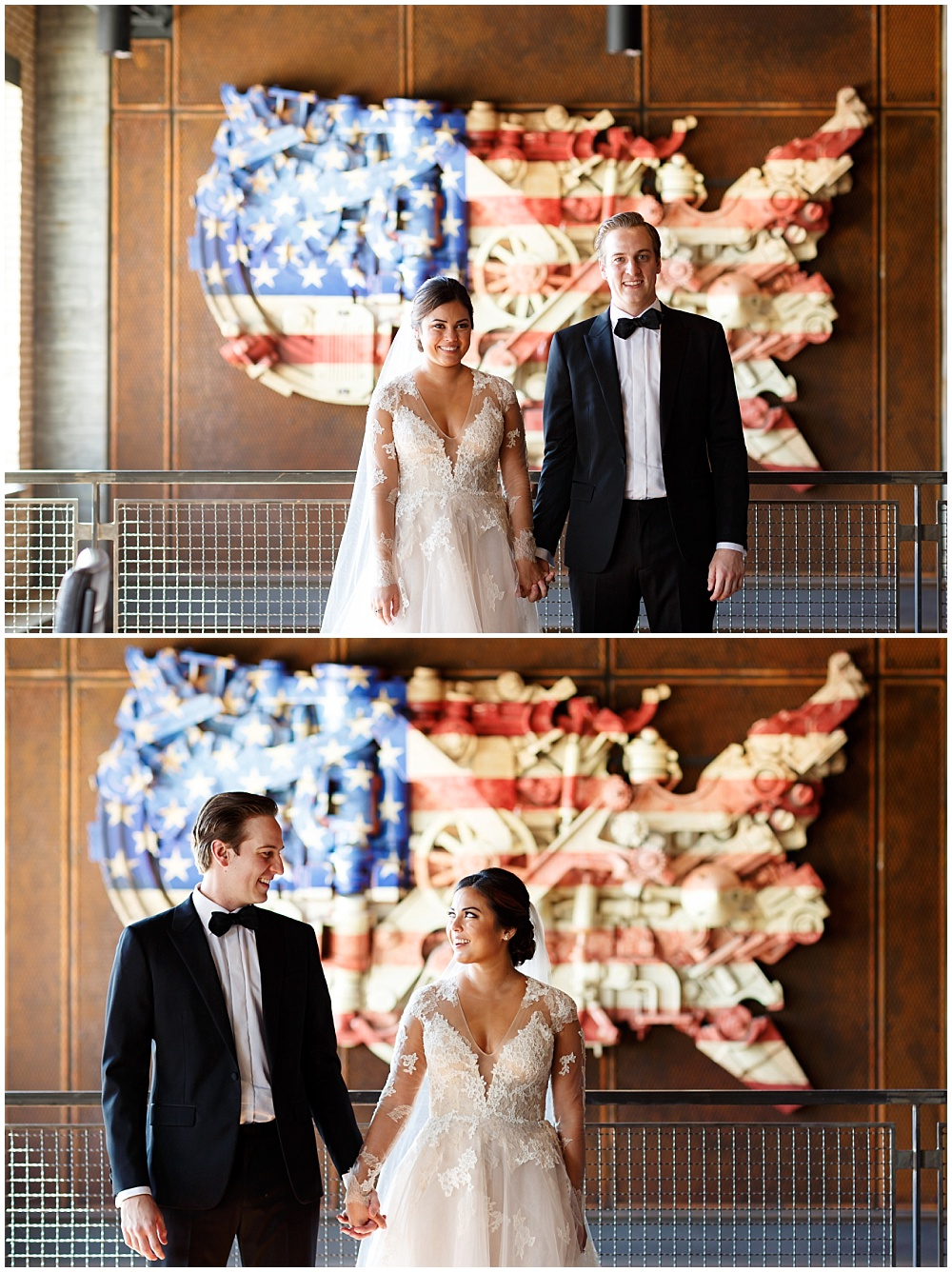 Bride and groom portraits at the Ironworks Hotel | Fall Indianapolis Traders Point Creamery garden wedding - fall, rustic details with an abundance of wedding blooms, velvet linens and fun details with Bobbi Photo and Jessica Dum Wedding Coordination