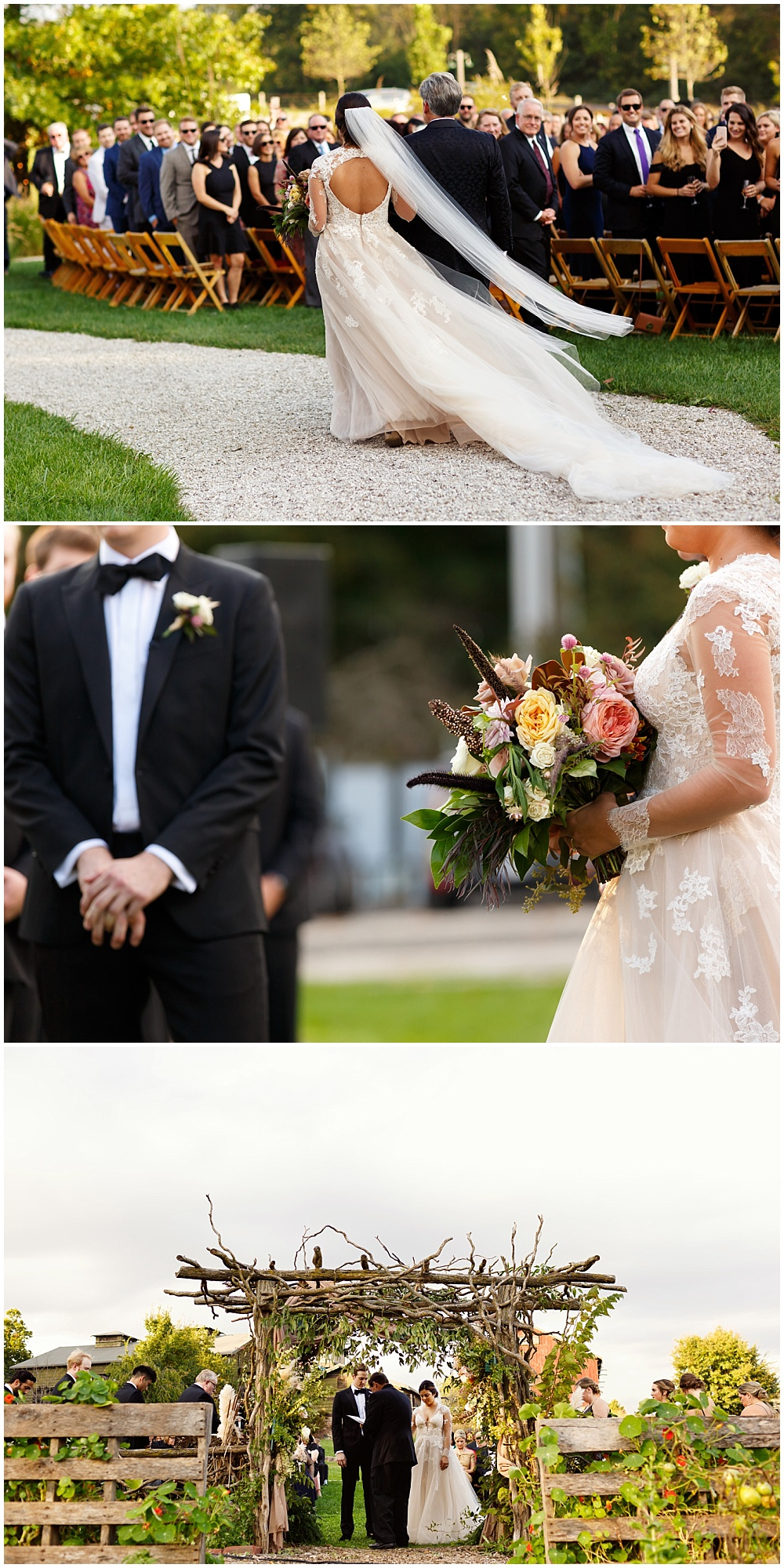 Outdoor ceremony with a gorgeous floral arch backdrop | Fall Indianapolis Traders Point Creamery garden wedding - fall, rustic details with an abundance of wedding blooms, velvet linens and fun details with Bobbi Photo and Jessica Dum Wedding Coordination