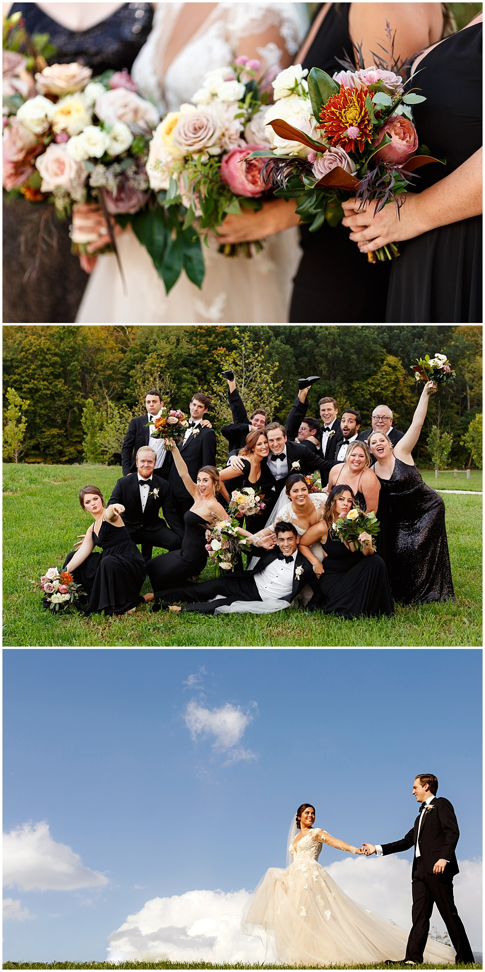 Black bridesmaid dresses with fall bridal bouquets | Fall Indianapolis Traders Point Creamery garden wedding - fall, rustic details with an abundance of wedding blooms, velvet linens and fun details with Bobbi Photo and Jessica Dum Wedding Coordination