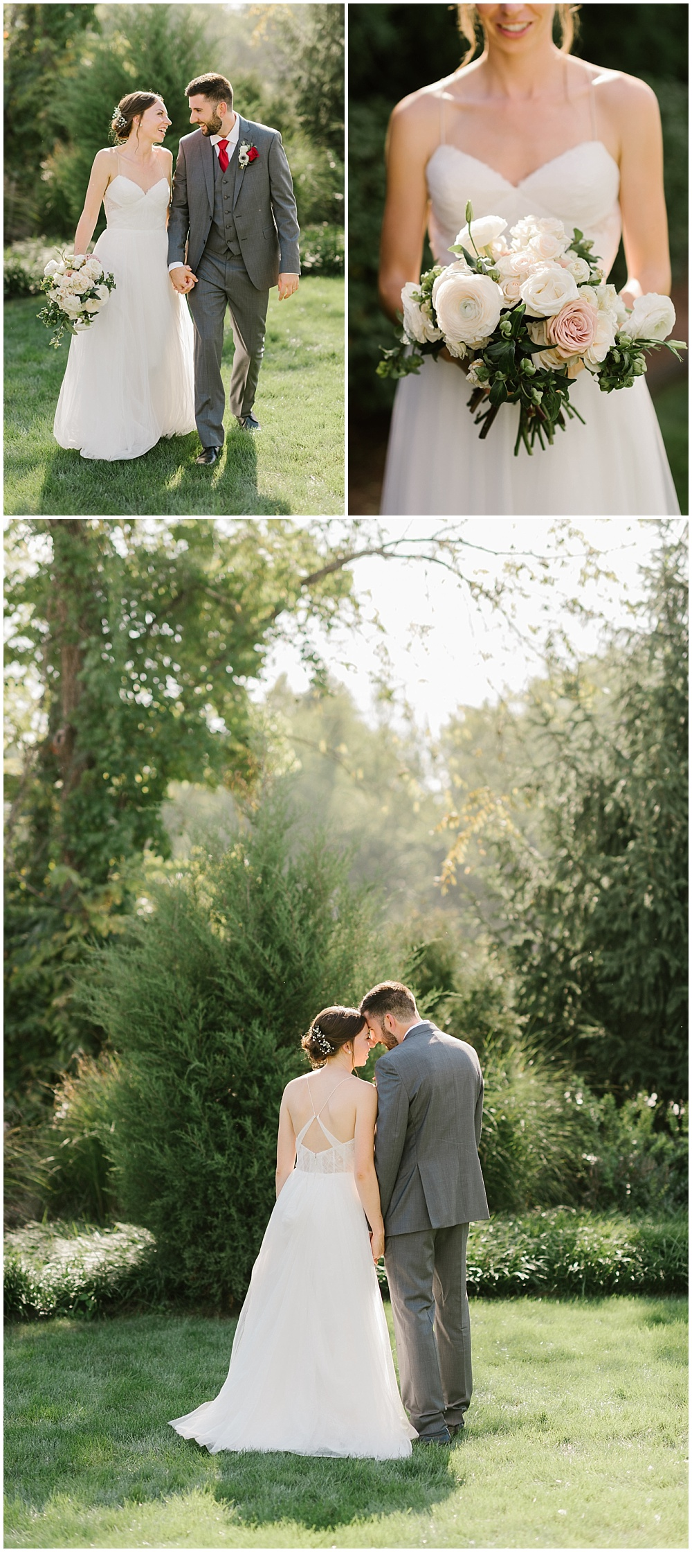 Bride and groom outdoor garden portraits and a bridal bouquet made up of white and soft blush flowers Fall garden-inspired wedding at the Ritz Charles Garden Pavilion in Carmel, Indiana | Jessica Dum Wedding Coordination