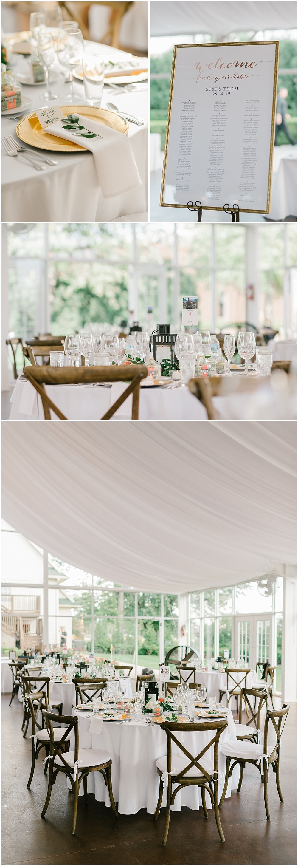 Simple wedding tablescape details with white linens, wooden cross-back chairs and sprigs of greenery at each guests' setting Fall garden-inspired wedding at the Ritz Charles Garden Pavilion in Carmel, Indiana | Jessica Dum Wedding Coordination