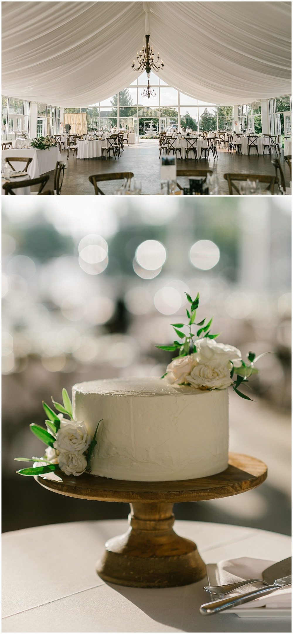 Small cutting cake with fresh flowers and a wooden pedestal cake stand Fall garden-inspired wedding at the Ritz Charles Garden Pavilion in Carmel, Indiana | Jessica Dum Wedding Coordination