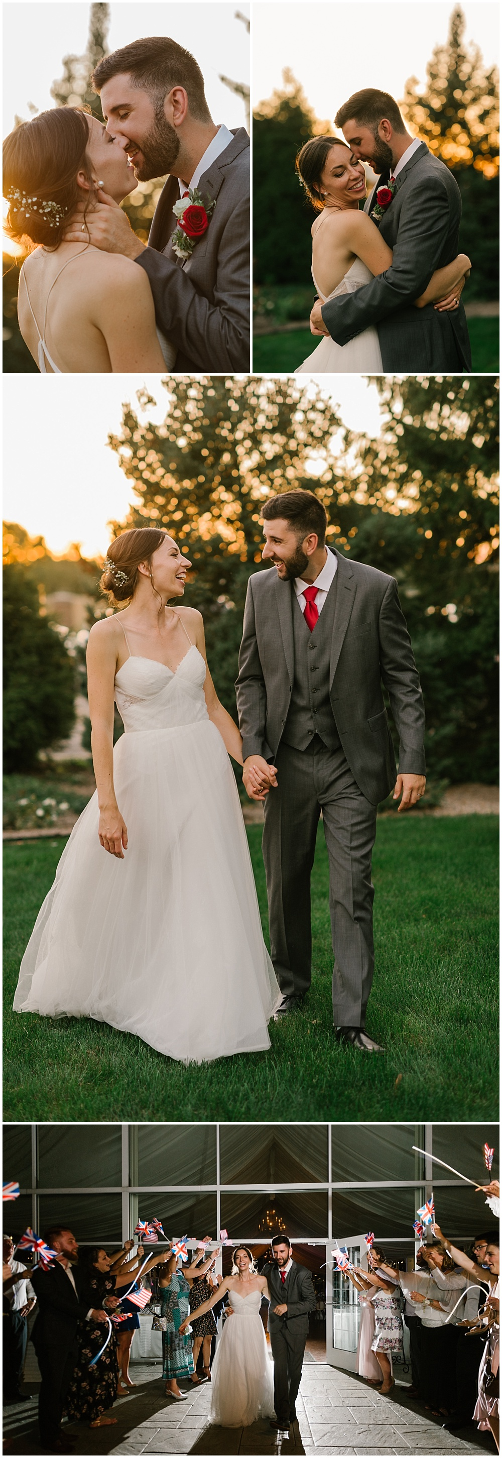 Bride and groom sunset portraits and formal exit with British and American flags Fall garden-inspired wedding at the Ritz Charles Garden Pavilion in Carmel, Indiana | Jessica Dum Wedding Coordination