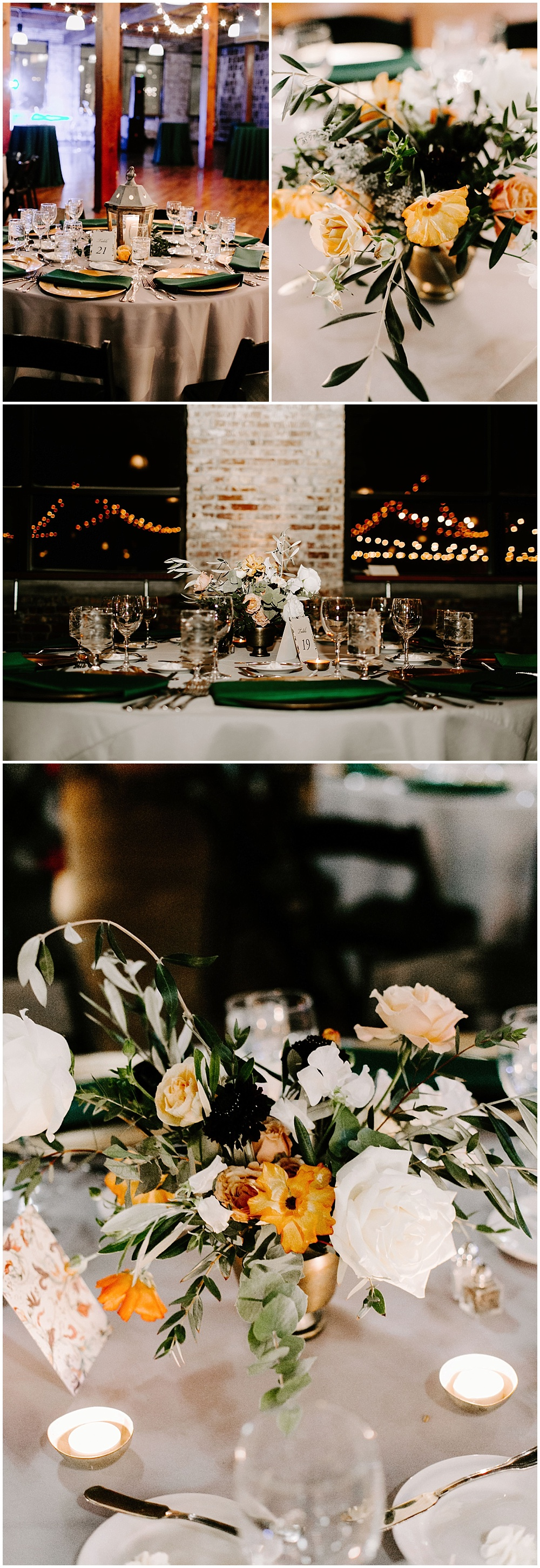 Hunter green wedding tablescape with pops of orange and gold. | Industrial winter wedding at the Biltwell Event Center in downtown Indianapolis alongside Emily Wehner Photography and Jessica Dum Wedding Coordination