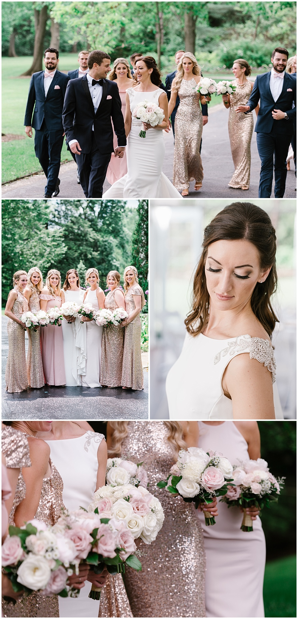 Mix and match blush bridesmaid dresses. Bride and groom outdoor portraits on the grounds of the beautiful Indianapolis Museum of Art Newfields. | Spring blush garden-inspired memorial day weekend wedding at the beautiful Ritz Charles Garden Pavilion with Stacy Able Photography and Jessica Dum Wedding Coordination