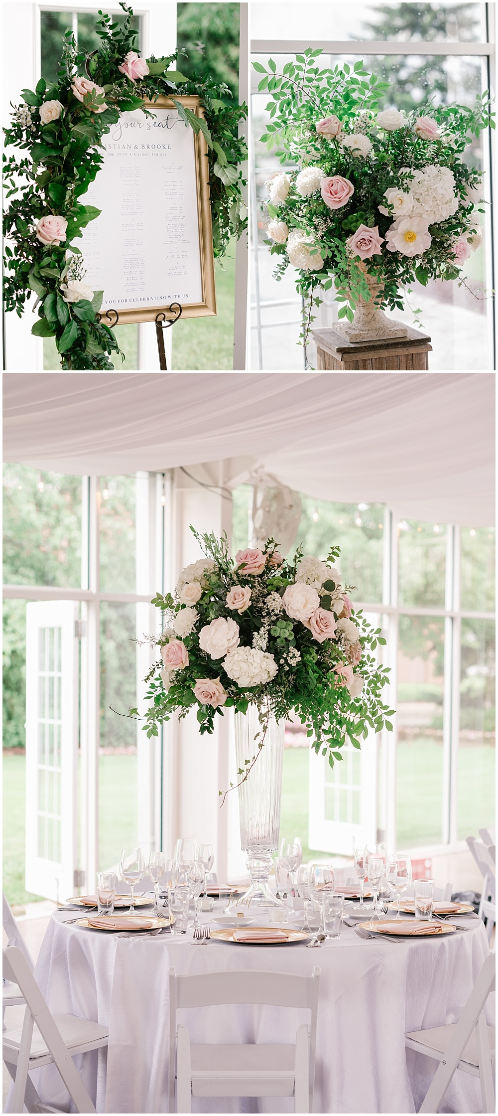 Blush and white wedding flowers with an abundance of greenery. Blush and gold wedding tablescape and seating chart with corner floral. | Spring blush garden-inspired memorial day weekend wedding at the beautiful Ritz Charles Garden Pavilion with Stacy Able Photography and Jessica Dum Wedding Coordination