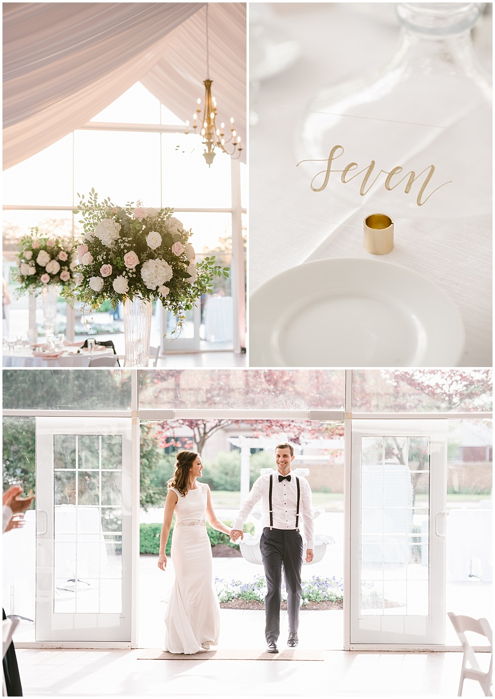 Blush and gold wedding tablescape with large clear glass vessels. Bride and groom grand entrance. | Spring blush garden-inspired memorial day weekend wedding at the beautiful Ritz Charles Garden Pavilion with Stacy Able Photography and Jessica Dum Wedding Coordination