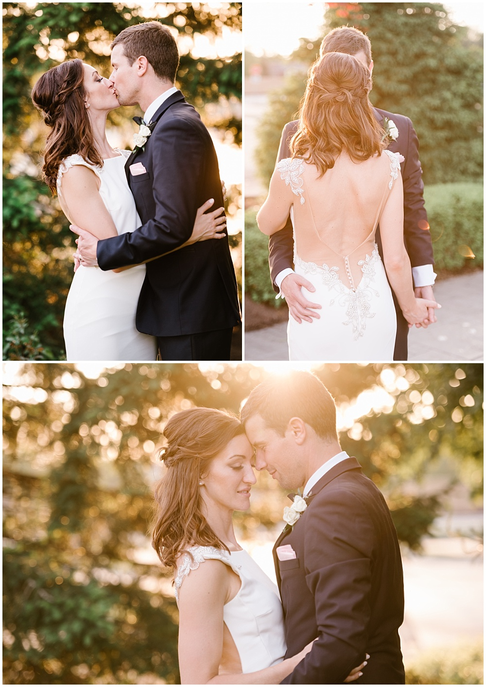 Bride and groom sunset photos. | Spring blush garden-inspired memorial day weekend wedding at the beautiful Ritz Charles Garden Pavilion with Stacy Able Photography and Jessica Dum Wedding Coordination