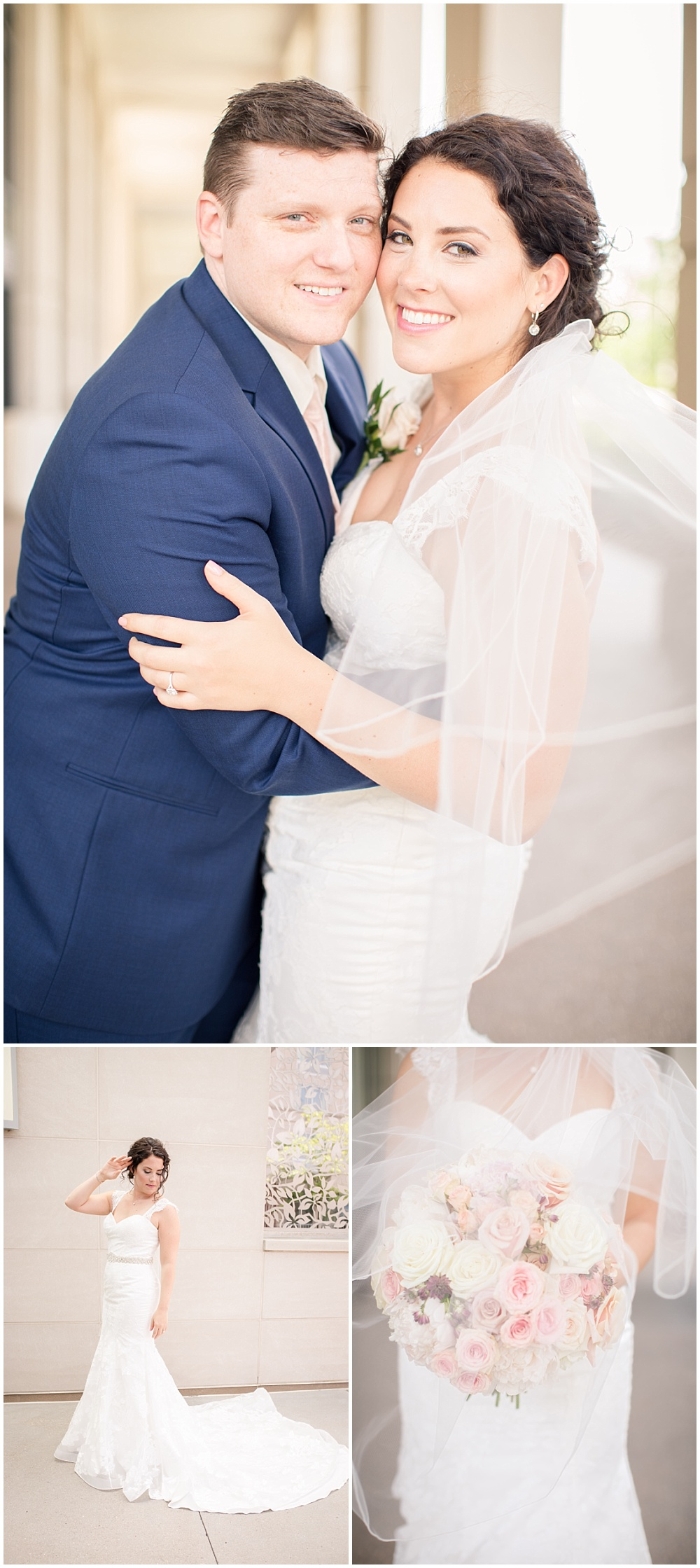 Bride and groom portraits.   Spring blush and gold downtown Indianapolis Central Library wedding alongside Evangeline Renee Photography + Jessica Dum Wedding Coordination