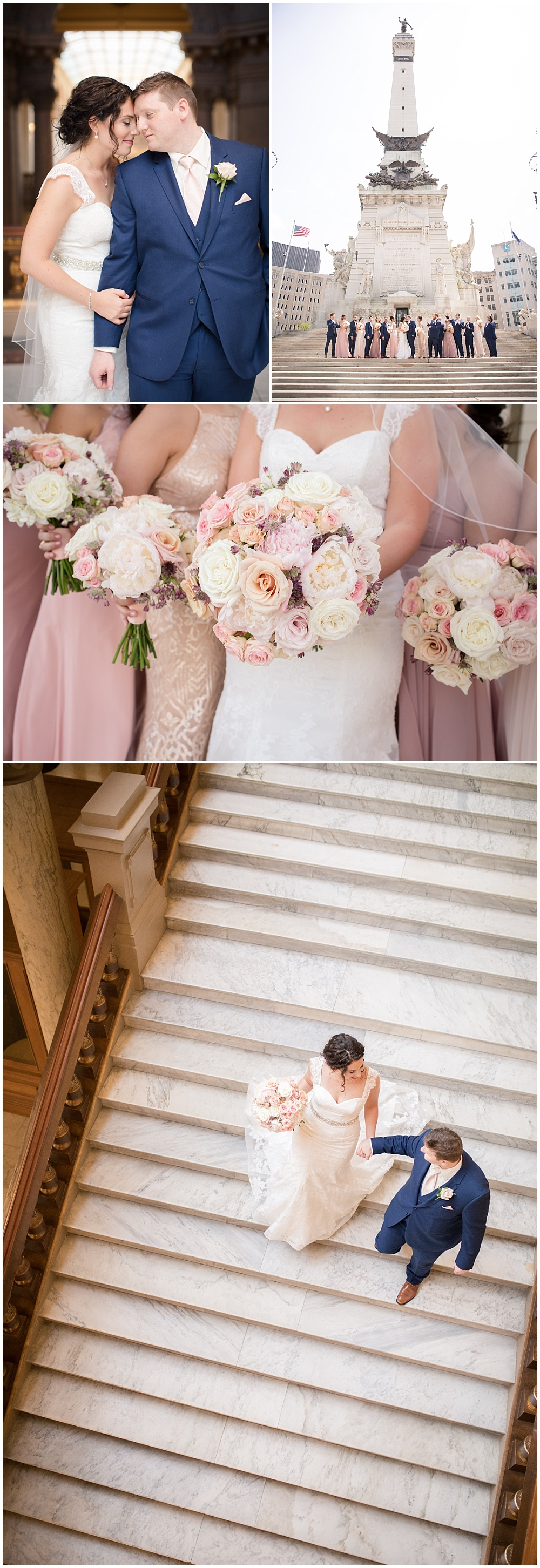 Mix and match blush bridesmaid dresses compliment gorgeous blush and white bridal bouquets.   Spring blush and gold downtown Indianapolis Central Library wedding alongside Evangeline Renee Photography + Jessica Dum Wedding Coordination