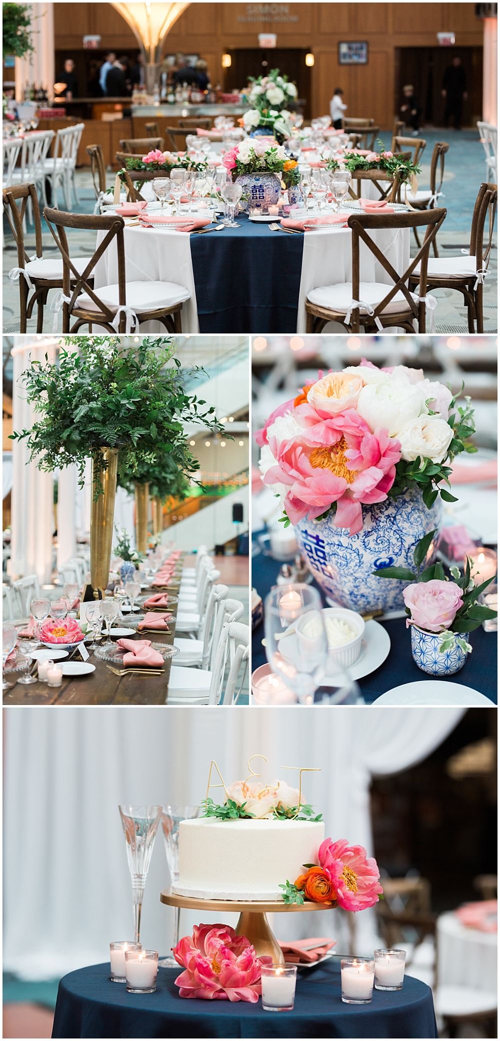 Navy and coral wedding tablescapes with wooden and white cross-back chairs, blue ginger vases and coral criss-crossed napkins. The bride and groom also chose to mix wooden farmhouse tables with round tables with tall greens under need draped bistro lighting. | Coral and navy Cape Cod-inspired downtown Indianapolis library wedding with Gaby Cheikh Photography and Jessica Dum Wedding Coordination