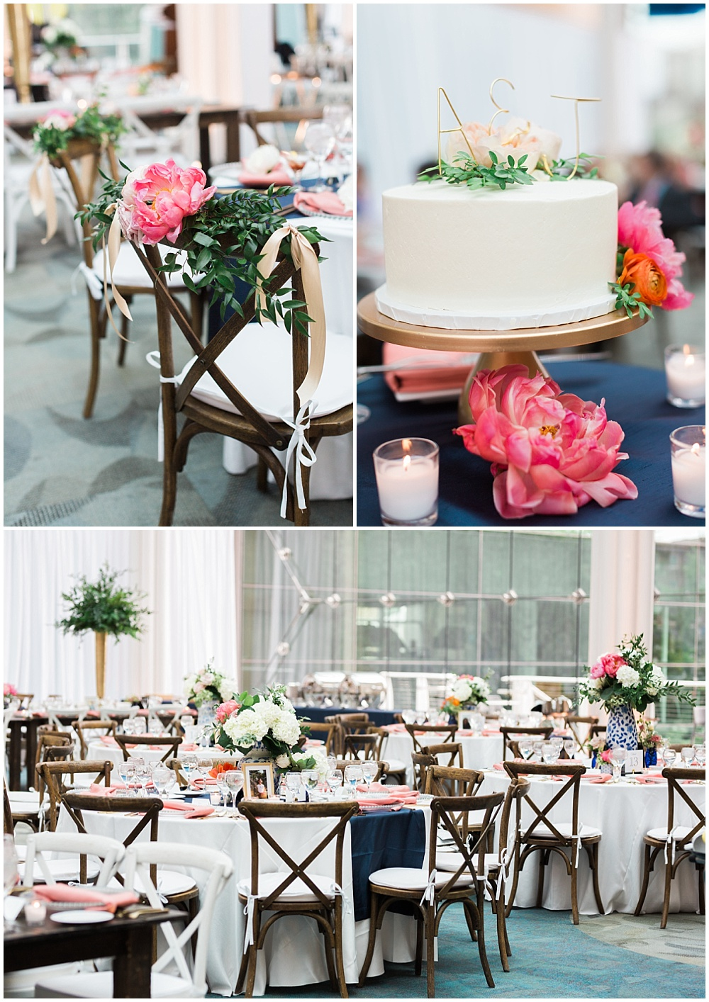 Navy and coral wedding tablescapes with wooden and white cross-back chairs, blue ginger vases and coral criss-crossed napkins. | Coral and navy Cape Cod-inspired downtown Indianapolis library wedding with Gaby Cheikh Photography and Jessica Dum Wedding Coordination