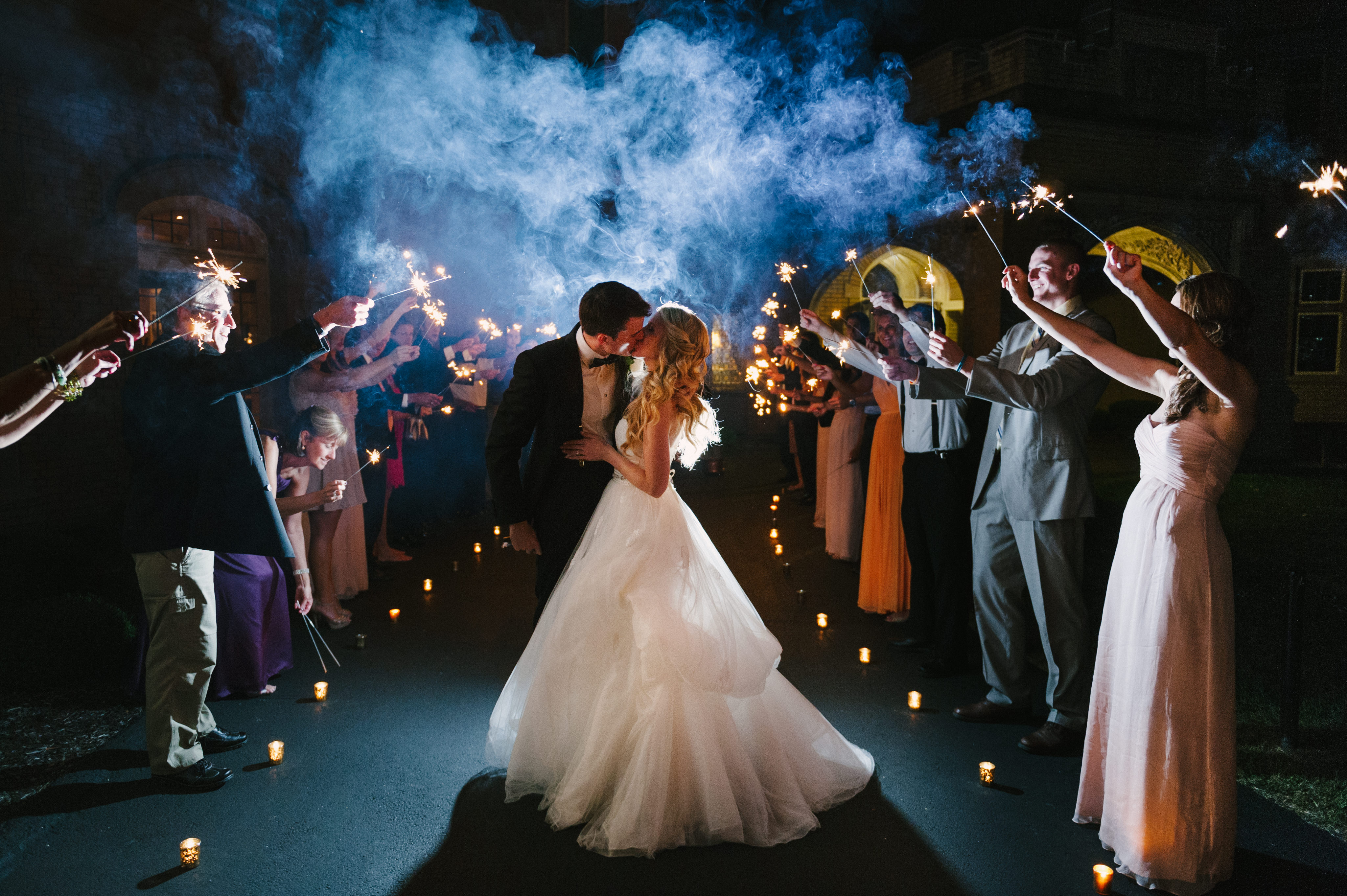 Looking to do a formal exit from your ceremony or reception? We're sharing 12 fun sendoff ideas for exiting your wedding in style over on the Jessica Dum Wedding Coordination blog today! | End of night sparkler exit.