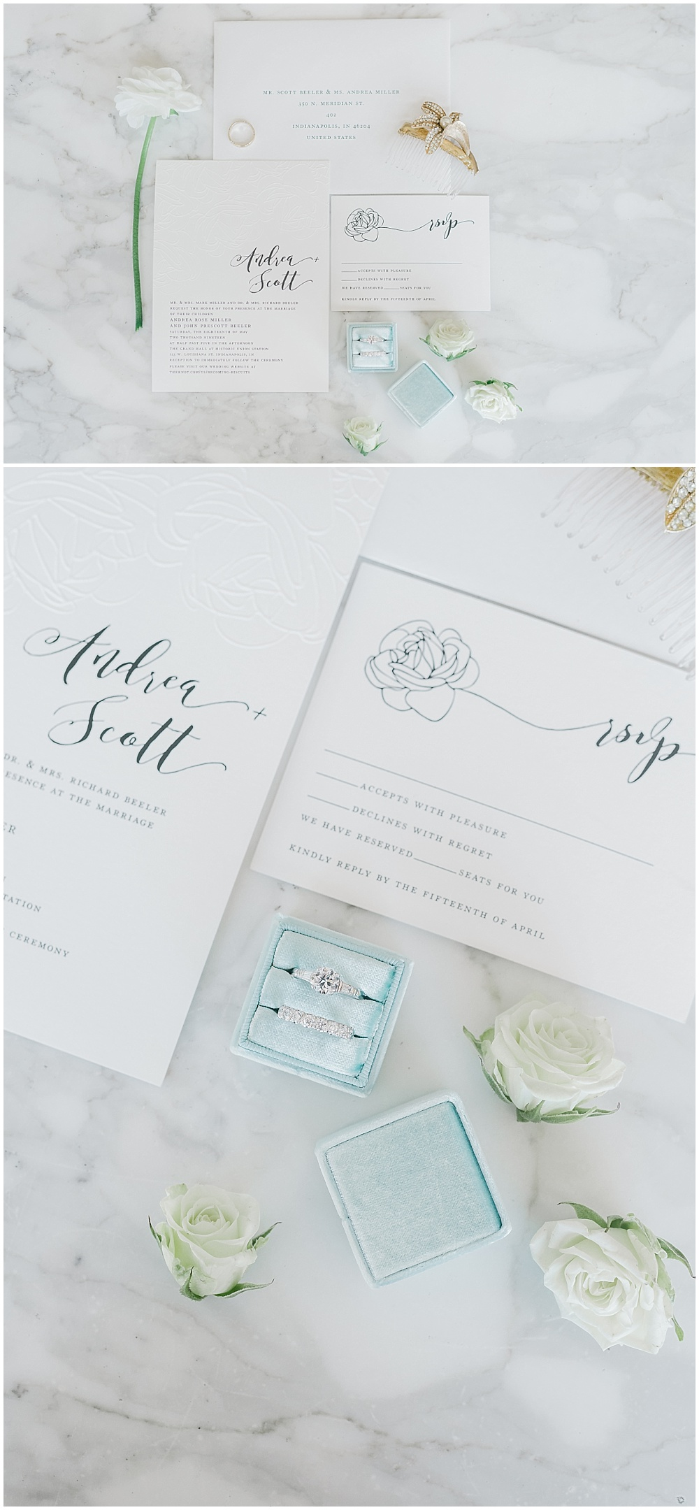 Simple, yet stunning white invitation suite flat lay with a blue velvet ring box | A blue and gold downtown Indianapolis spring wedding at the Grand Hall at Historic Union Station with Rebecca Shehorn Photography and Jessica Dum Wedding Coordination is on the blog today!