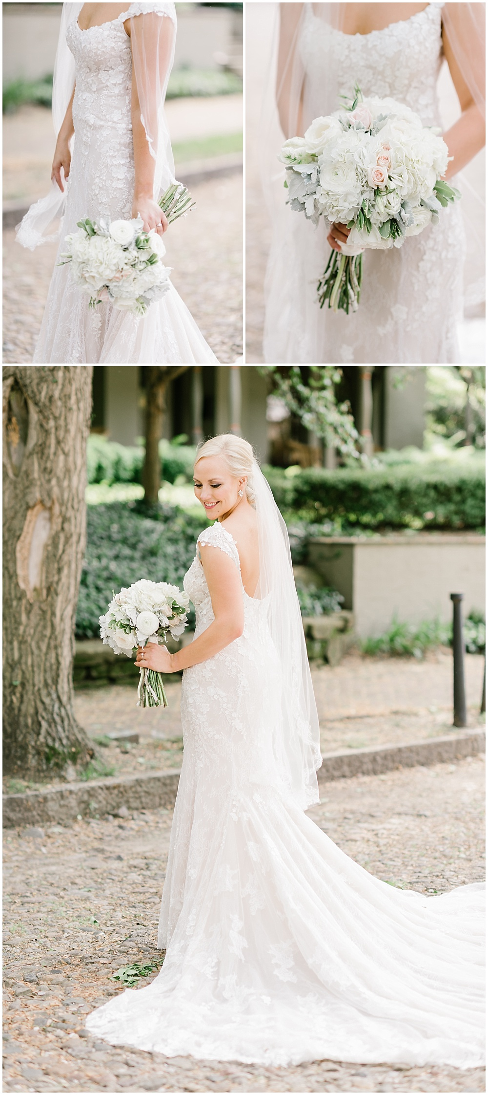 Outdoor bridal portraits, white lace wedding dress and a neutral bridal bouquet | A blue and gold downtown Indianapolis spring wedding at the Grand Hall at Historic Union Station with Rebecca Shehorn Photography and Jessica Dum Wedding Coordination is on the blog today!
