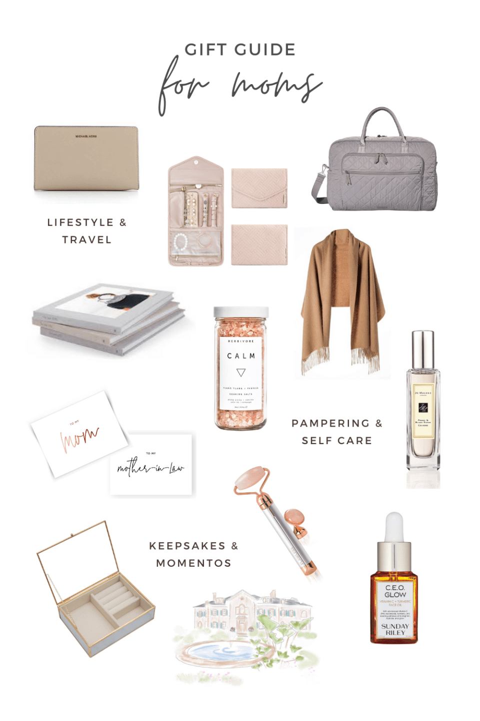 A gift guide for moms - we've rounded up 12 unique gift ideas for all women and moms perfect for the wedding day, self care and even keepsakes after the wedding. Gift ideas perfect for holiday gifts, mother of the bride gifts, mother of the groom gifts or even Mother's Day gifts! | #giftsforher #momgifts #mothersdaygifts