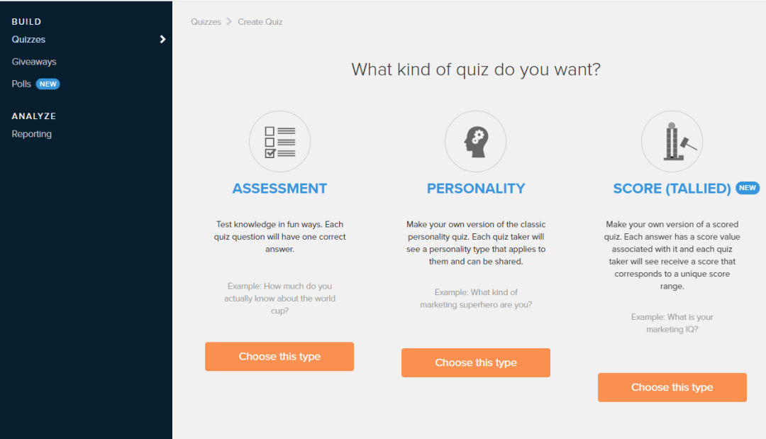 Tryinteract.com, how to create a quiz,