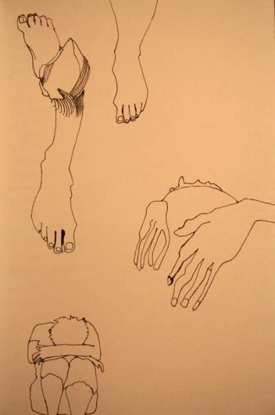 feet sad sketch