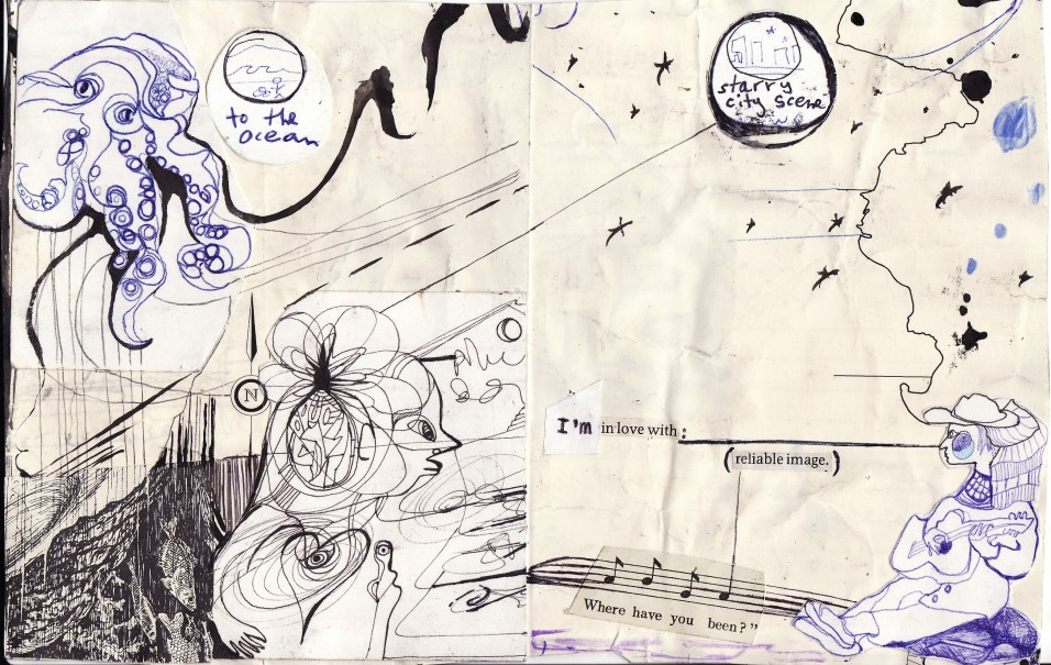 """""""to the ocean"""" collage, pen, pencil on paper. detail from """"open confusion"""" zine, 2008.Jessica Gabriel."""