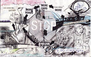 """""""stop"""" collage, pen, pencil on paper. detail from """"open confusion"""" zine, 2008.Jessica Gabriel."""