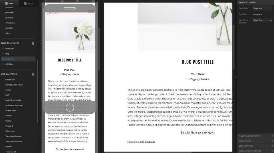 screenshot of single blog post design in showit