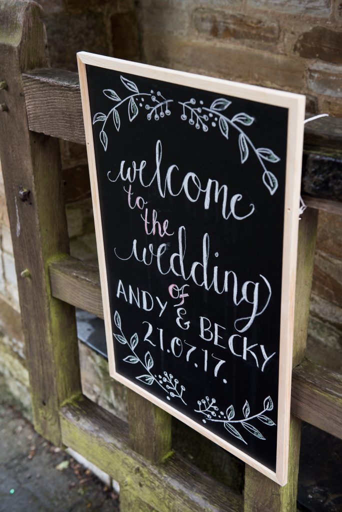 Andy and Becky welcome wedding sign Cornwall