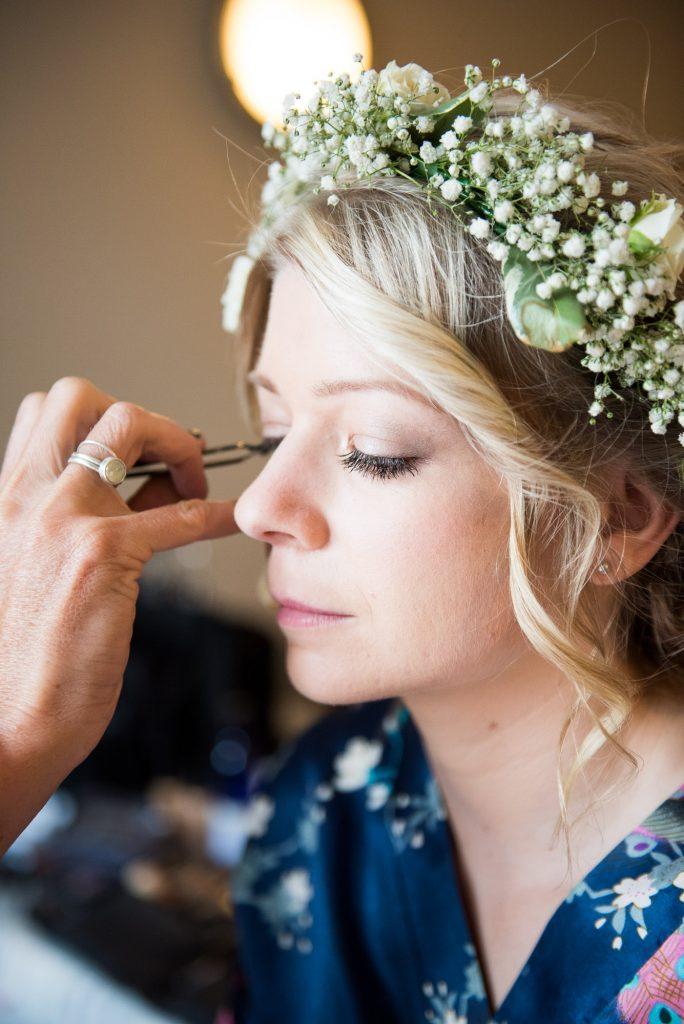 Bridal hair and make over for Suzi Winter boho bride Cornwall