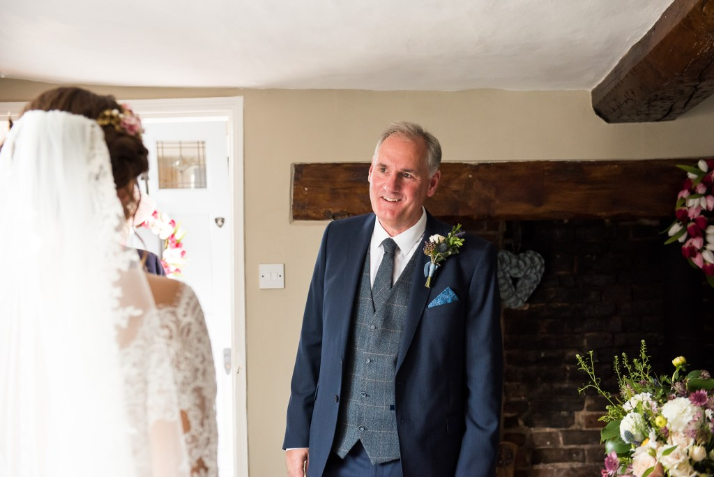 Father sees bride pre wedding photography Spixworth Hall wedding