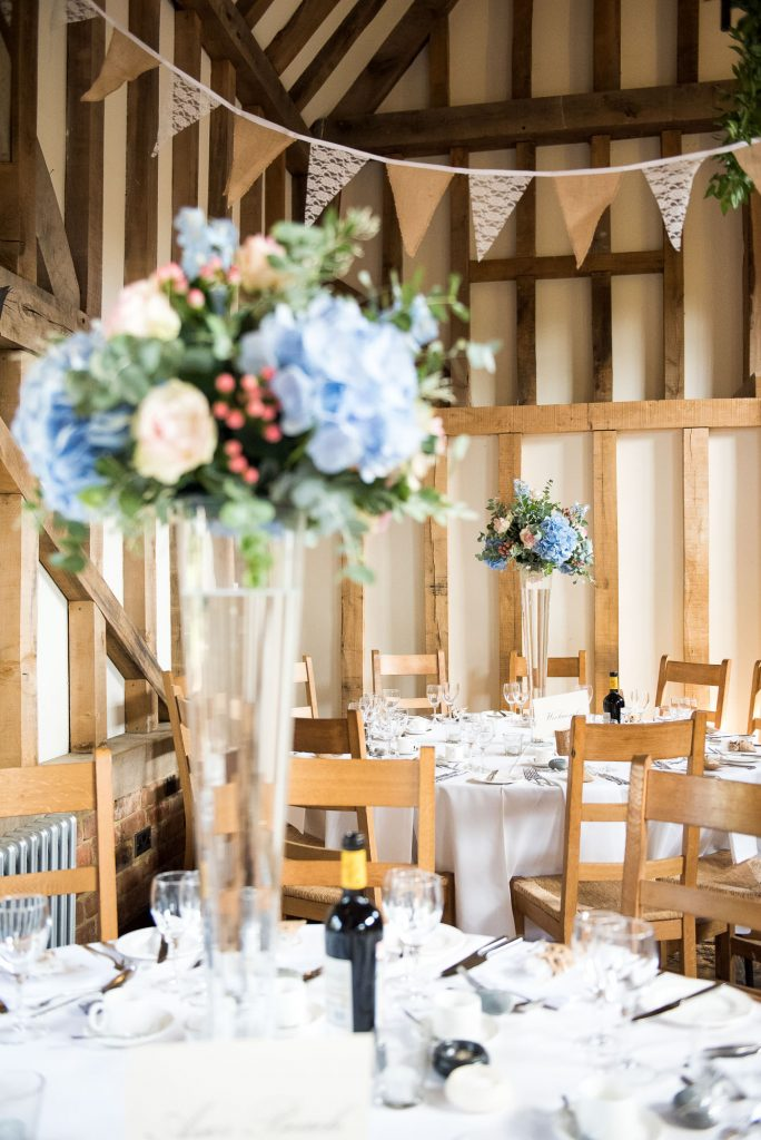 Natural countryside wedding decor with bunting