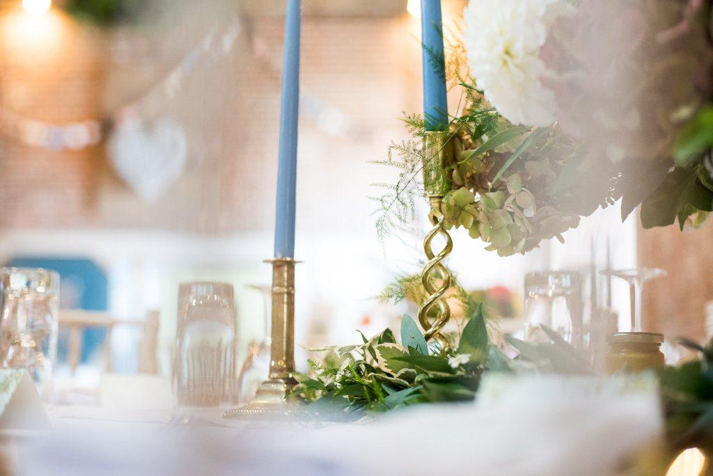 Elegant wedding table decor gold candlesticks Norfolk Spixworth Hall wedding