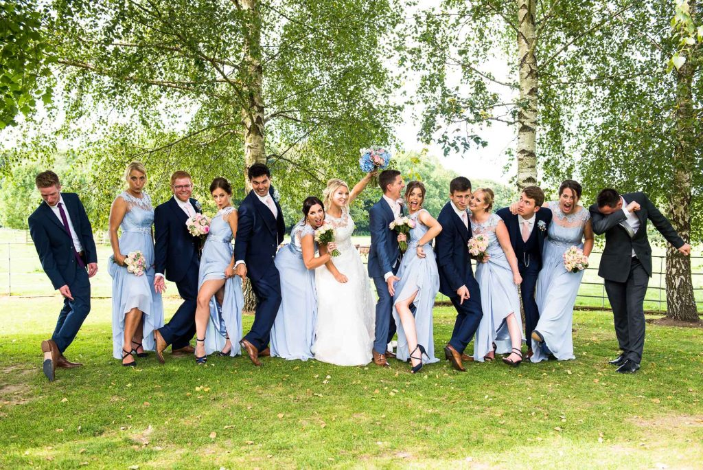 Fun wedding party line up