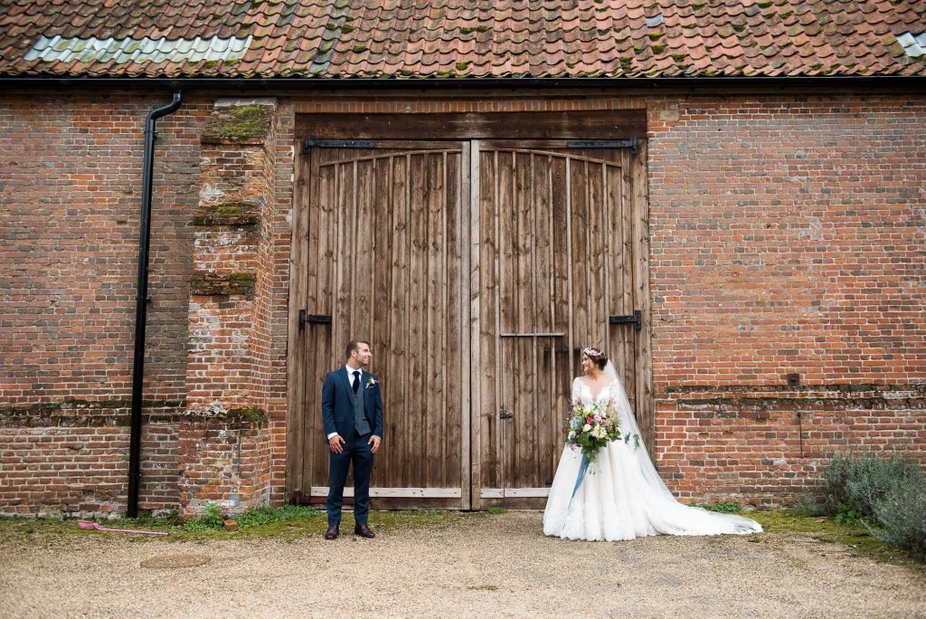 Creative wedding portrait Norfolk Barn wedding