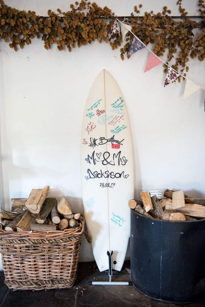 Signed surf board natural boho wedding