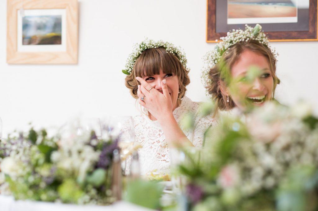 Fun reactions during wedding speech Cornwall