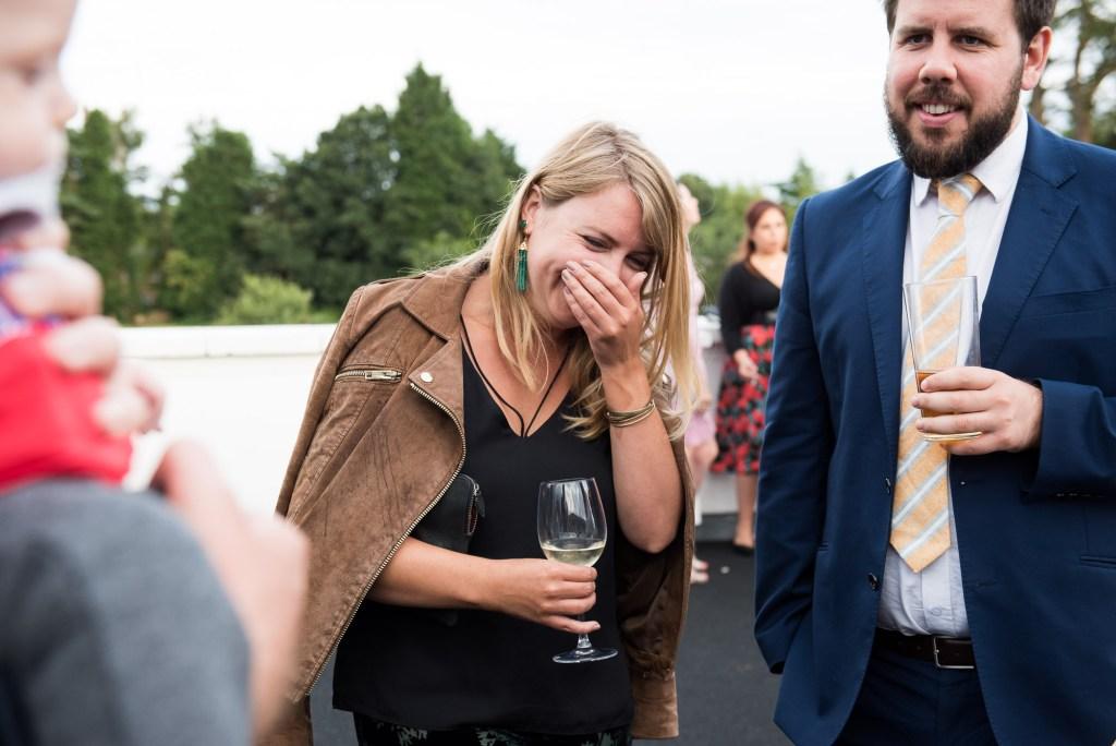 Laughing wedding guest Berkshire wedding
