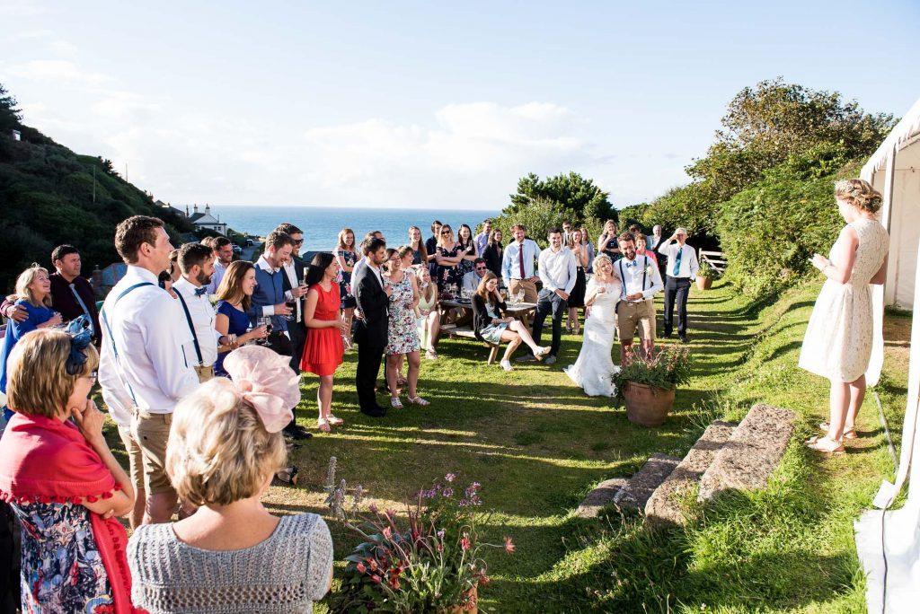 Sunshine beach wedding St Agnes Cornwall