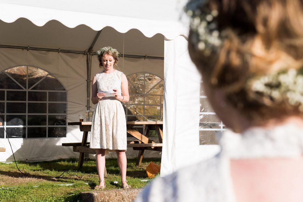 Bridesmaid delivers speech Cornwall beach wedding