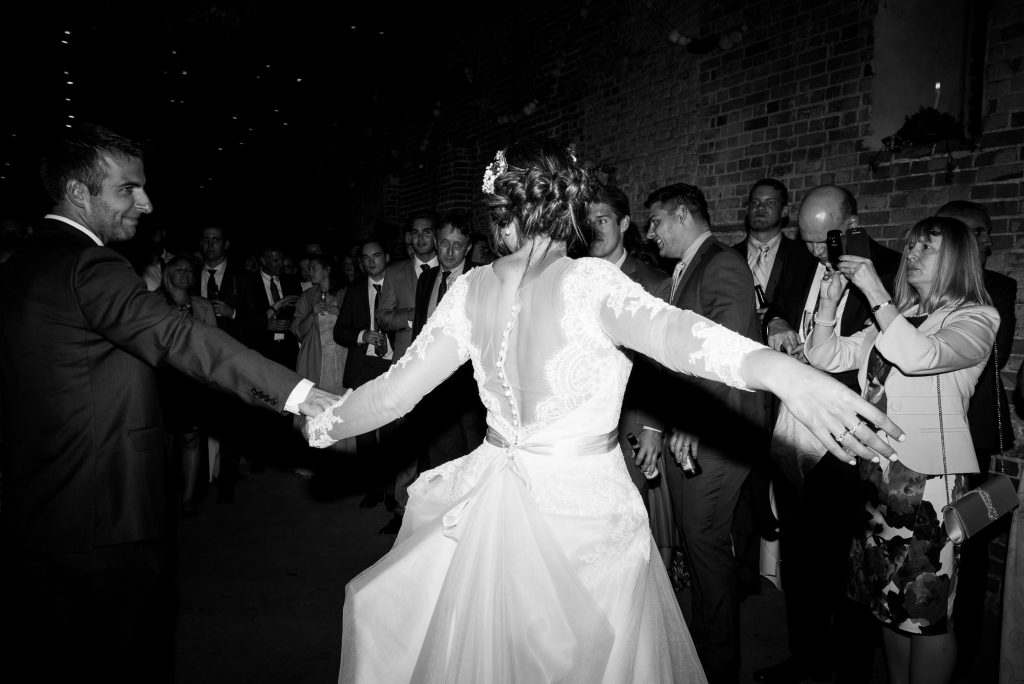 Jay West Bride with groom for first dance Norfolk Barn wedding