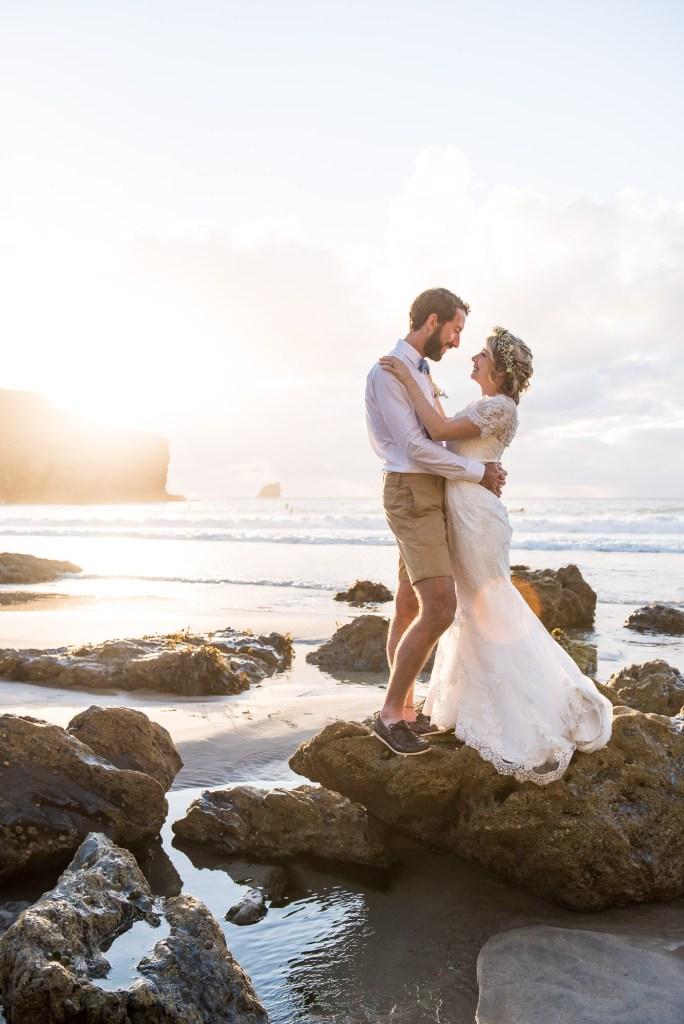 Beautiful beach wedding portrait Driftwood Spars Wedding
