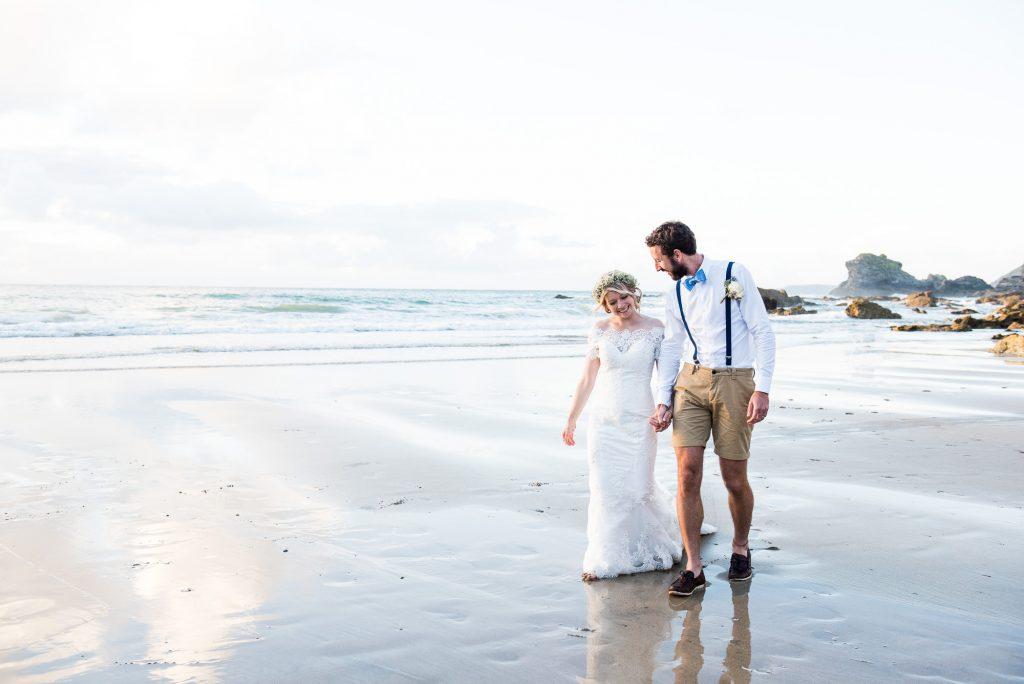 Romantic beach wedding portrait Cornwall