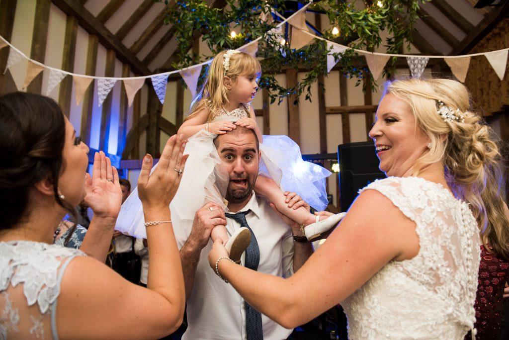 Fun wedding dance floor with bunting