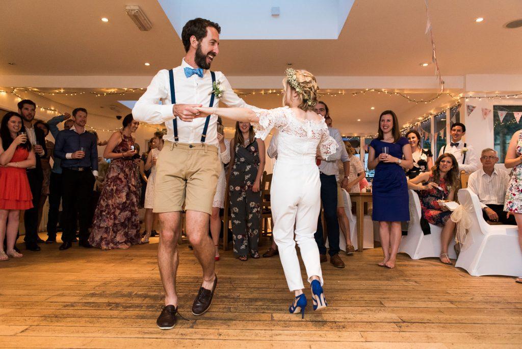 Fun first dance wedding Driftwood Spars Cornwall