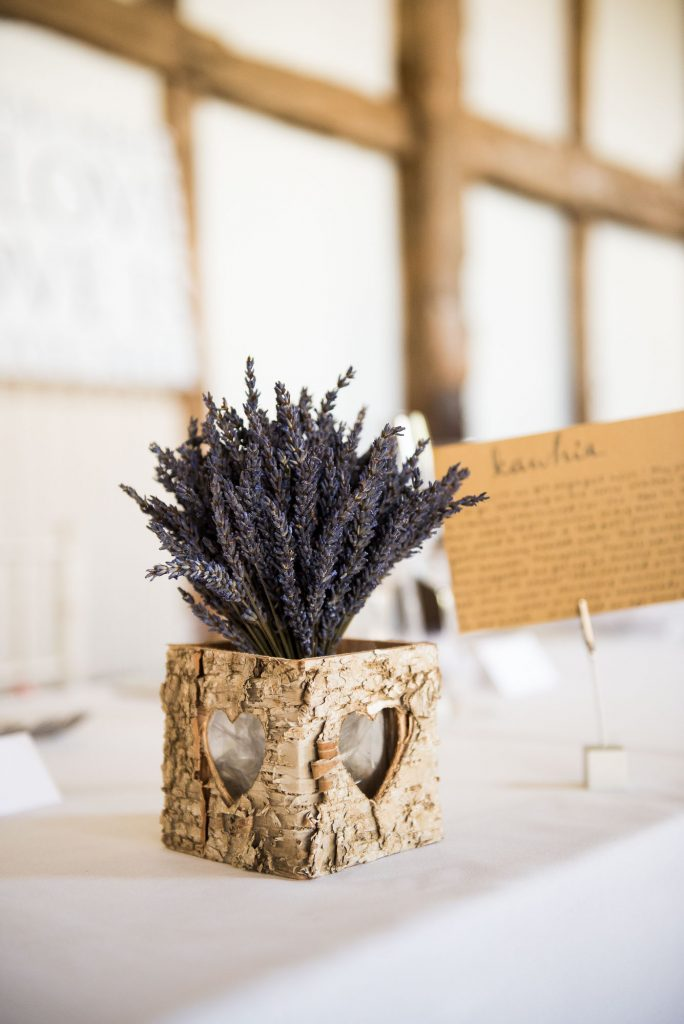 Rustic table decor of dried flowers Surrey barn wedding
