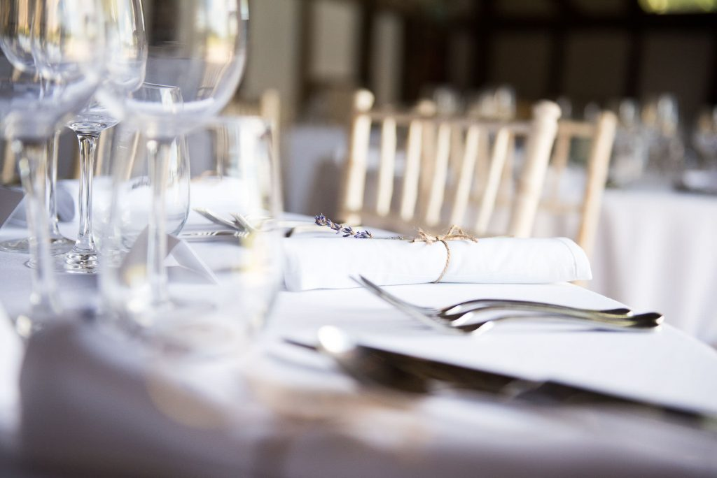 Dried lavender as a place setting Surrey barn wedding
