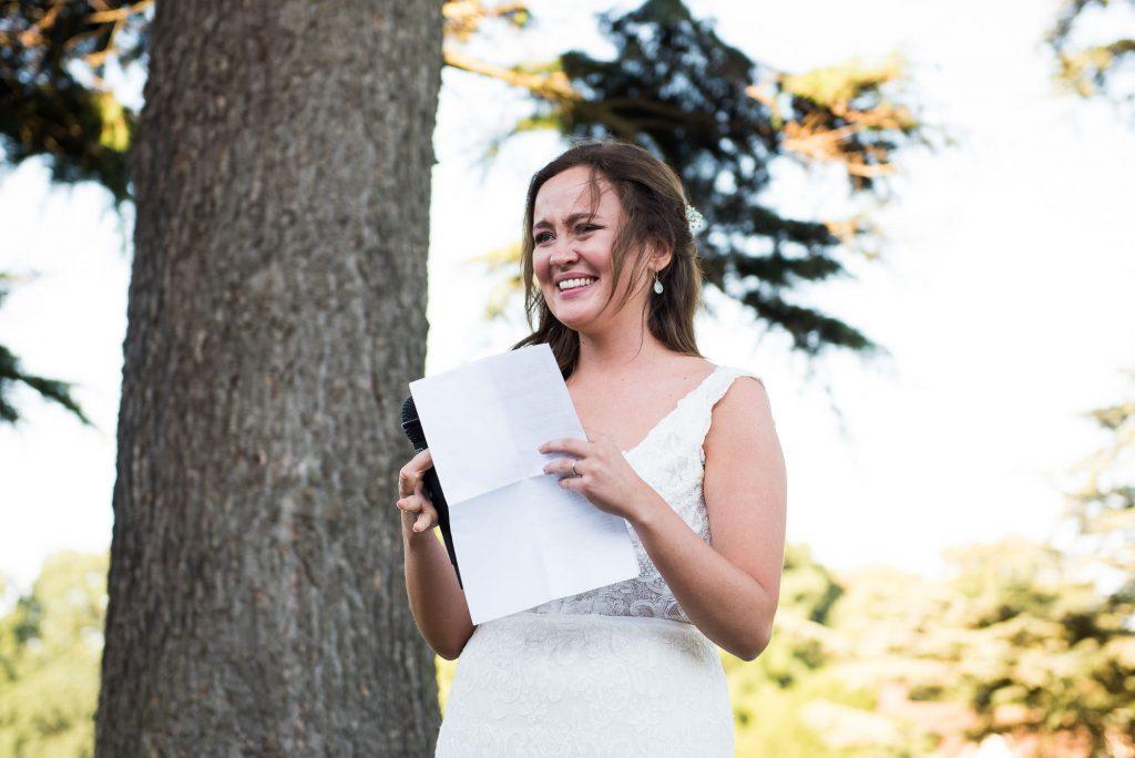 Bride delivers speech Surrey Barn wedding