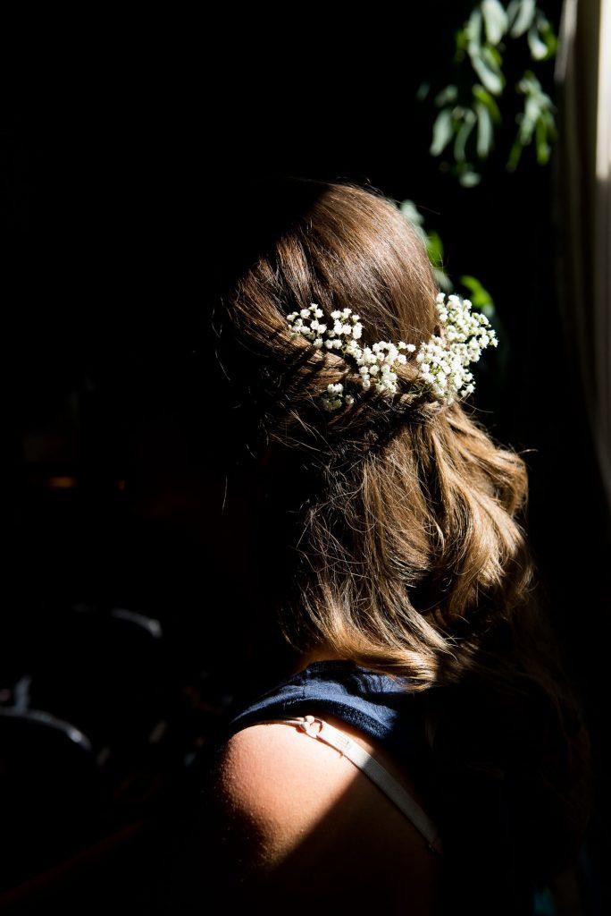 Bridal hair with natural gypsophila crown Surrey