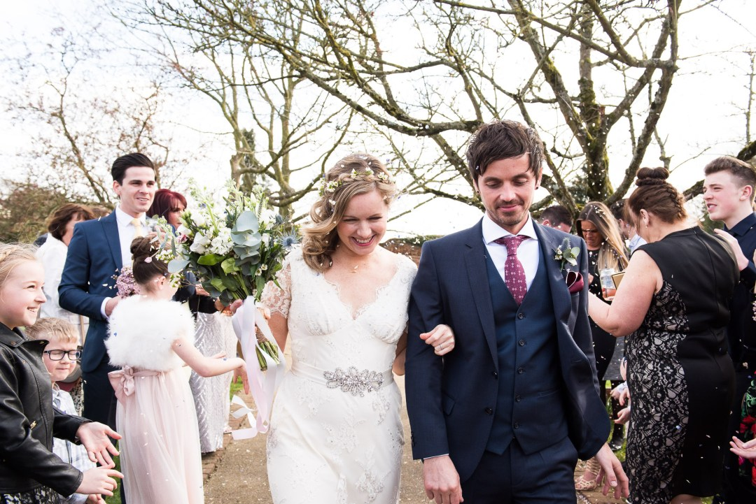 confetti line in the gardens of Gaynes Park